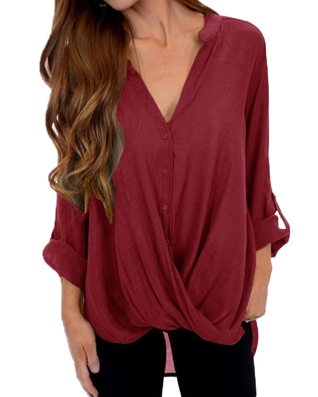 VONDA Women's V Neck Shirts Adjustable Long Sleeve Pleated Asymmetric Hem Blouse VONDAzroeuk654