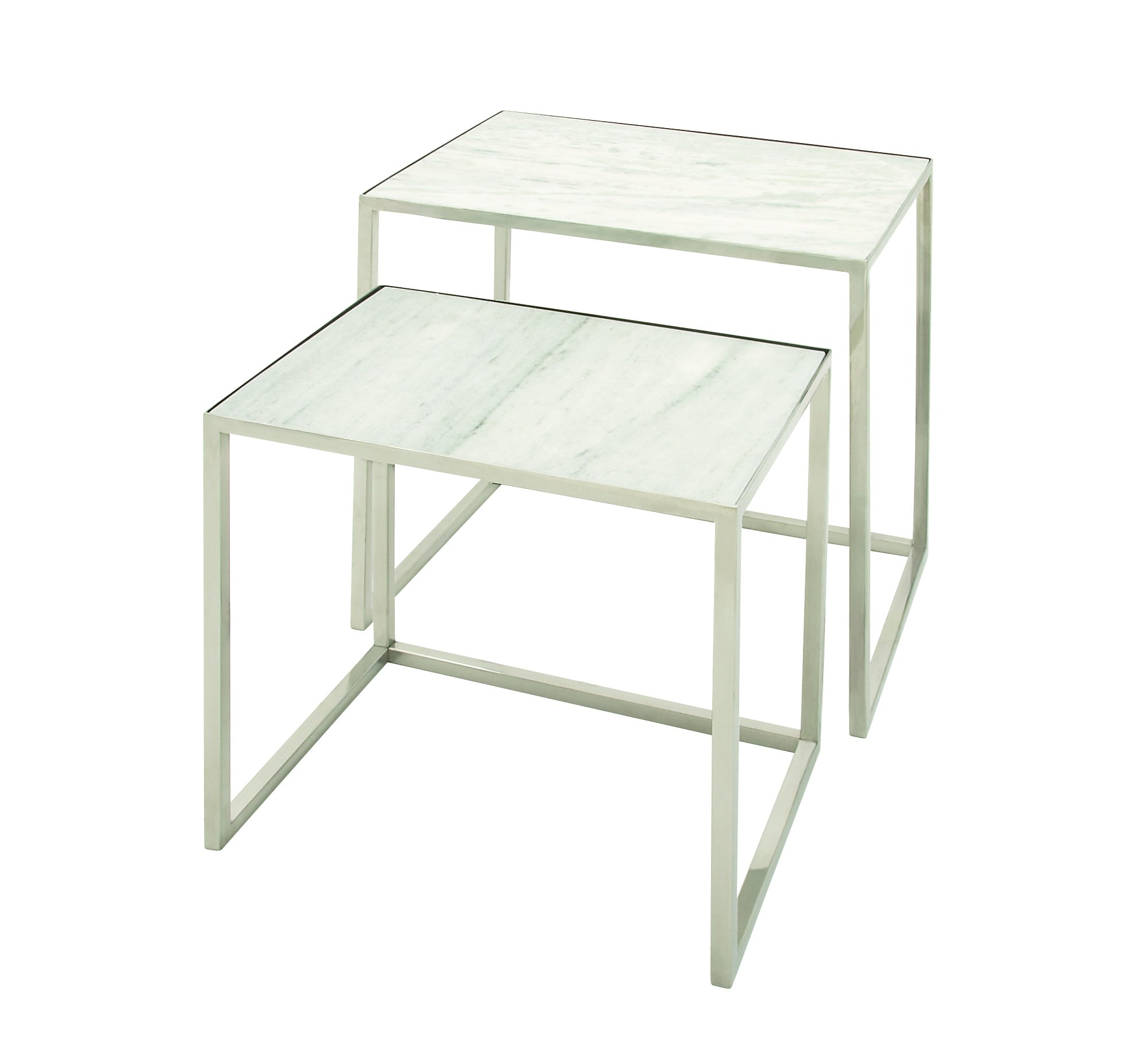 Deco 79 49605 Stainless Steel Marble Nesting Tables (Set of 2), 24''/20''
