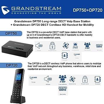 Grandstream dp750 estación base DECT de largo alcance + DP720 HD teléfono inalámbrico DECT: Amazon.es: Electrónica