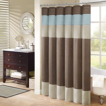 Madison Park Trinity Fabric Brown And Blue Shower Curtain Pieced Transitional Simple Curtains For