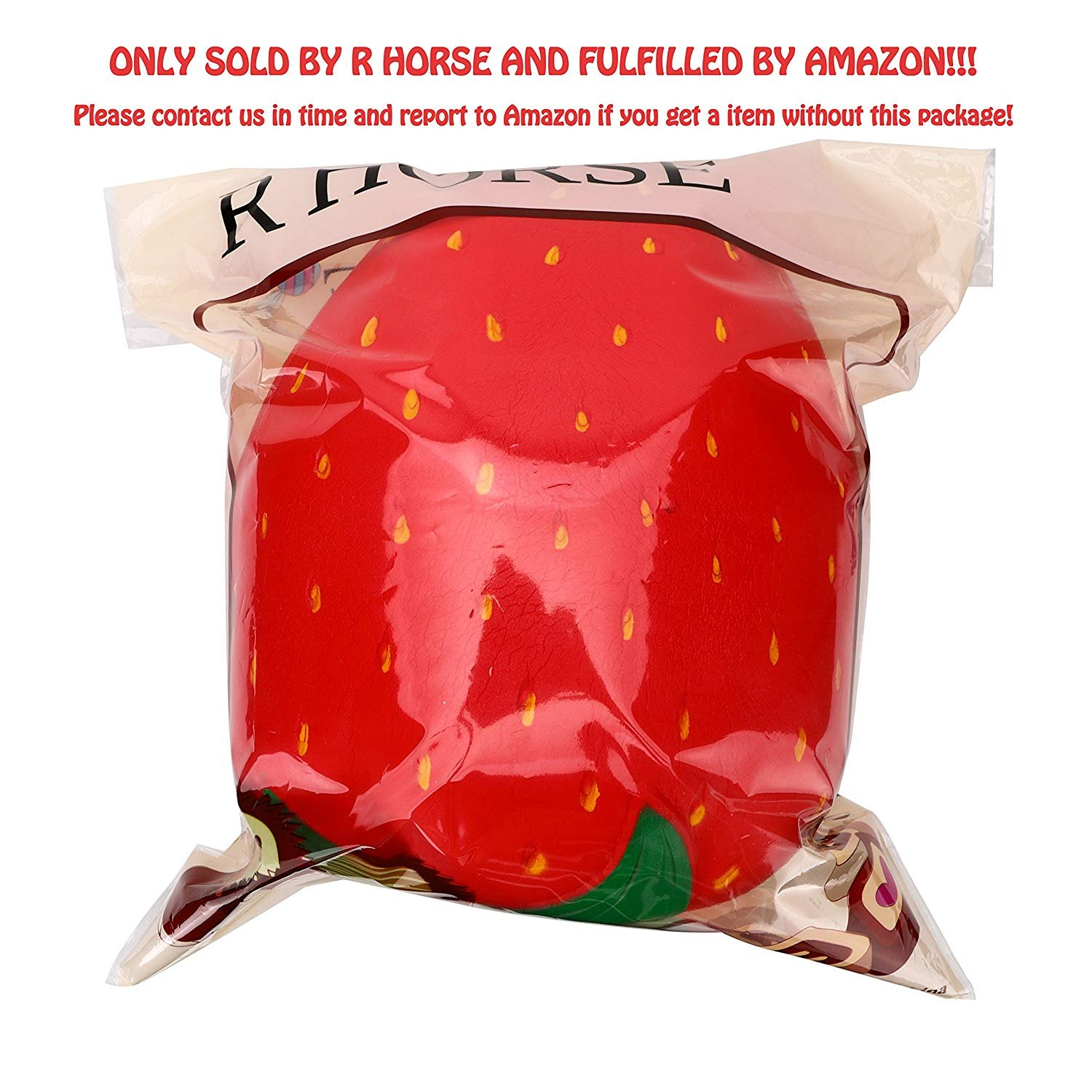 R.HORSE 10 inch Jumbo Squishy Kawaii Cute Strawberry Cream Scented Squishy Soft Kids Toys Doll Stress Relief Toy Hop Props, Decorative Props Large (Jumbo Strawberry) by R.HORSE (Image #2)