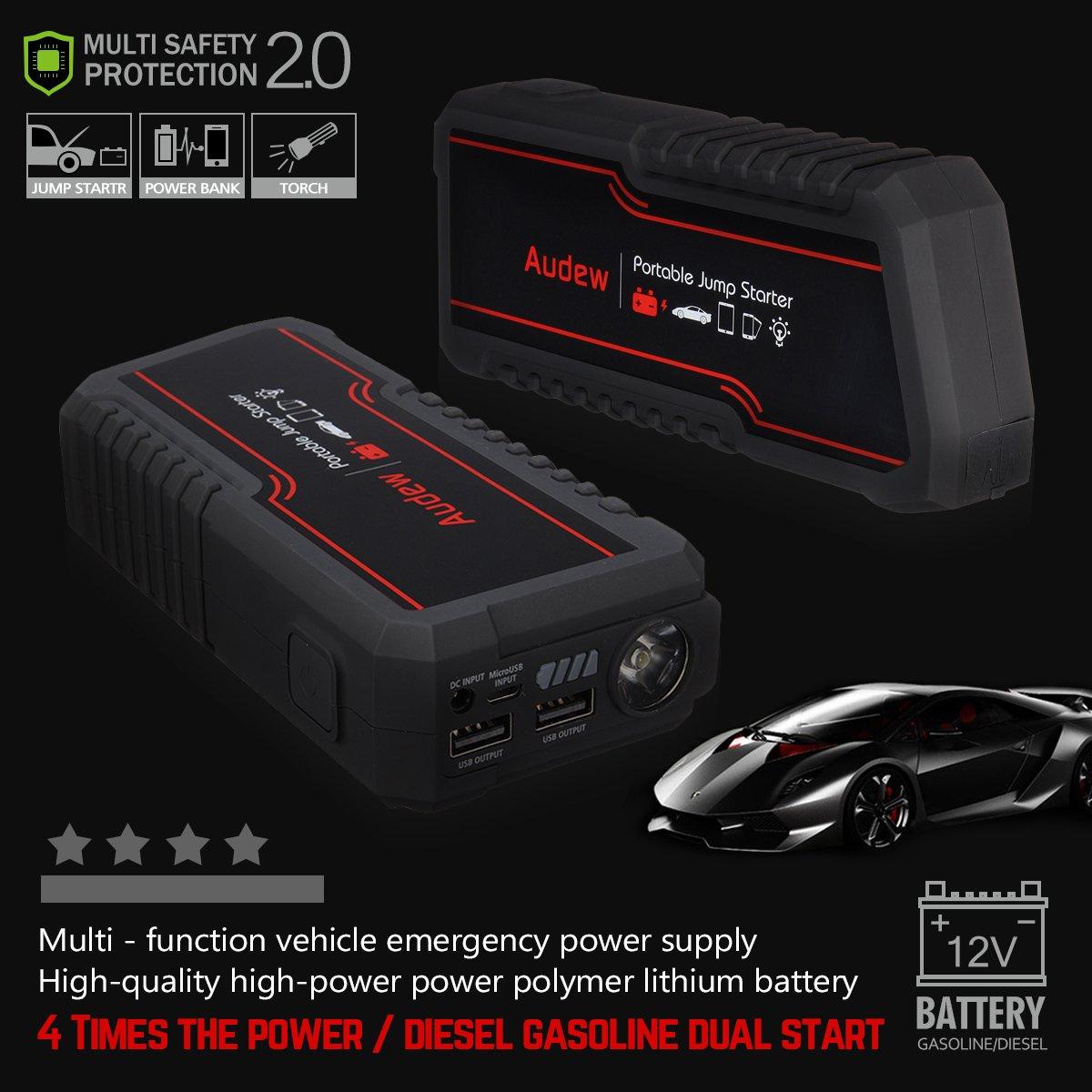 Audew 13800mAh Booster D/émarreur de Voiture Portable Jump Starter Chargeur Batterie Fonction Batterie Externe et Lampe Torche LED