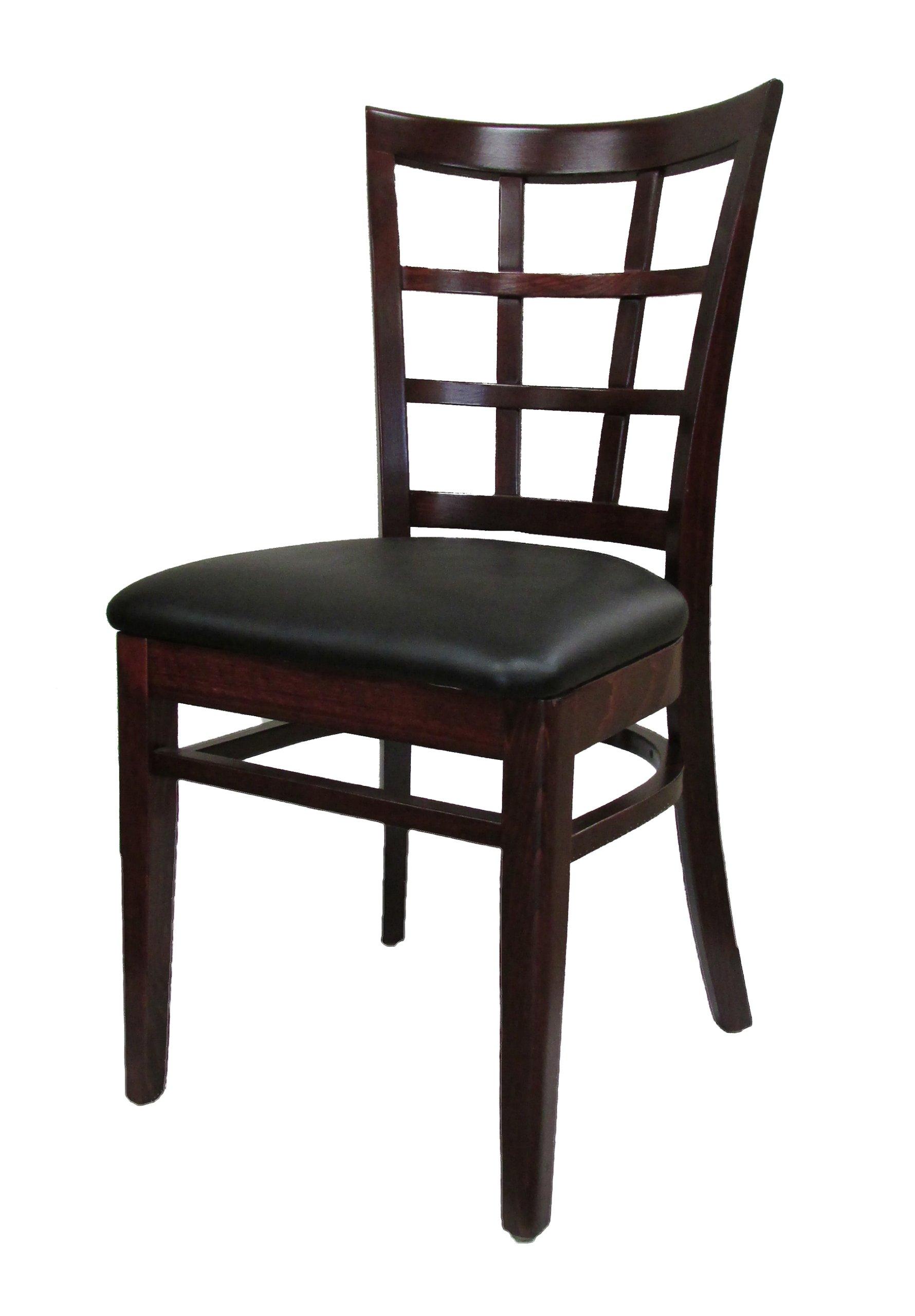 Oak Street Manufacturing WC017WA-BLK Solid Walnut Wood Frame Windowpane Dining Chair with Black Vinyl Seat, 18'' Width x 17'' Depth