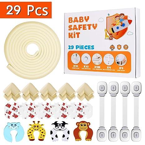 Locn 29 Piezas Kit Seguridad Bebe, 10 Protector Esquinas Niños,10 Seguridad Enchufes Bebes