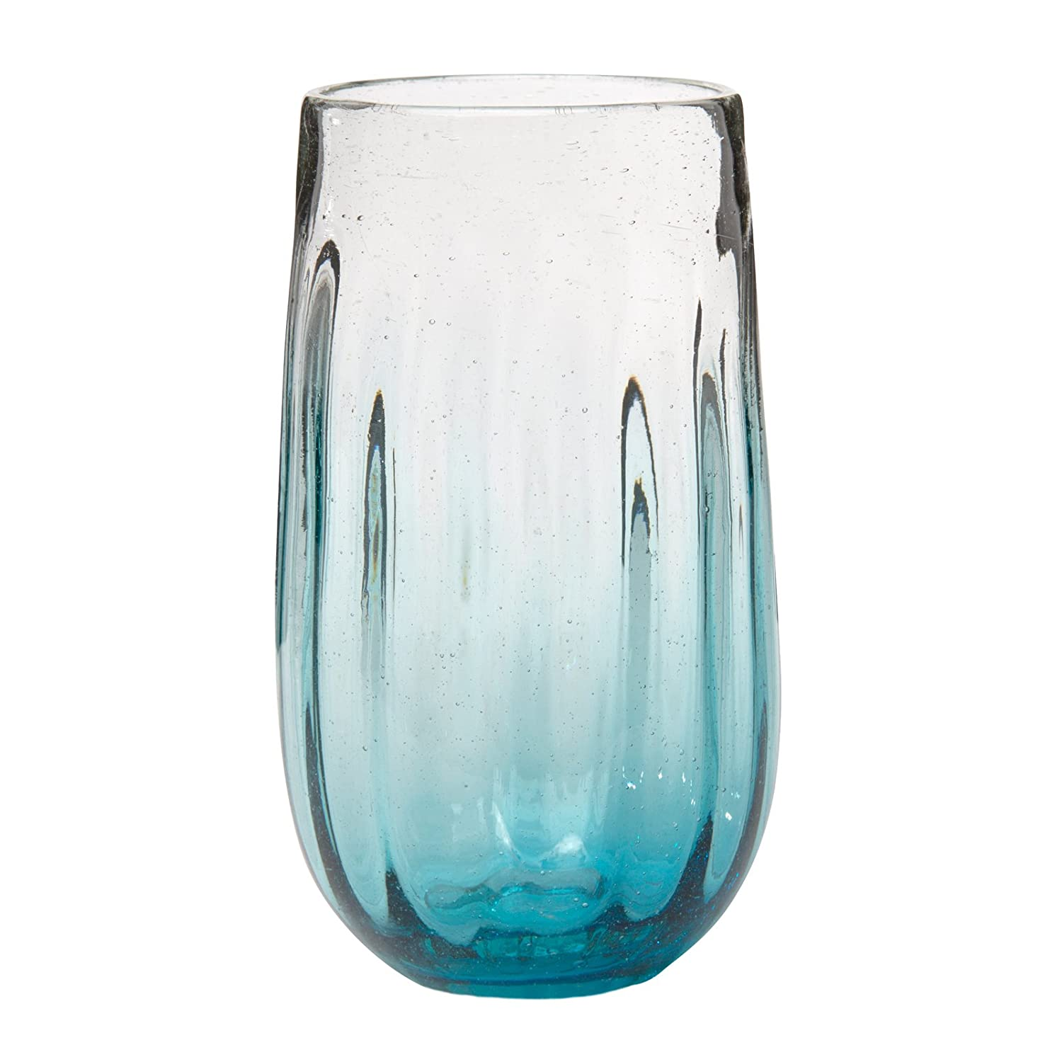 Amici Home, 7MCR067S6R, Rosa Hiball Drinking Glass, Translucent Aqua Ombre, Recycled Handblown Artisanal Mexican Tabletop Glassware, 20 Ounce Capacity, Set of 6