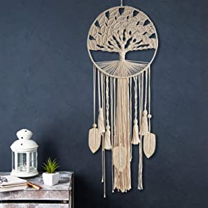 YESMONA Tree of Life Large Dream Catcher, Macrame Wall Hanging Dreamcatcher with Feather Leaf Woven Boho Dream Catchers for Home Bedroom Baby Room Nursery Hippie Wedding Decor