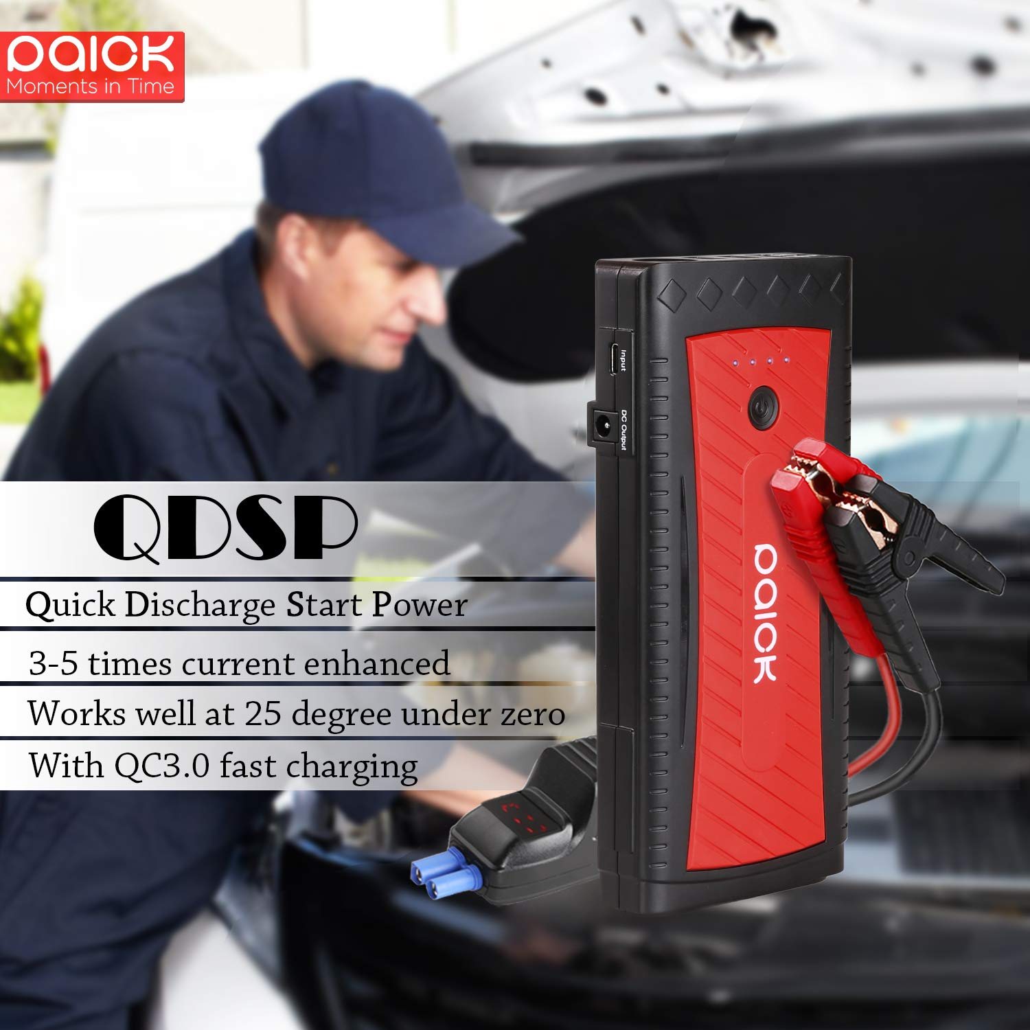 Paick Car Jump Starter 1300A Peak 3rd Generation QDSP Quick Discharge Start Power 12V Battery Booster (up to 8.0L Gas, 6.5L Diesel Engine)