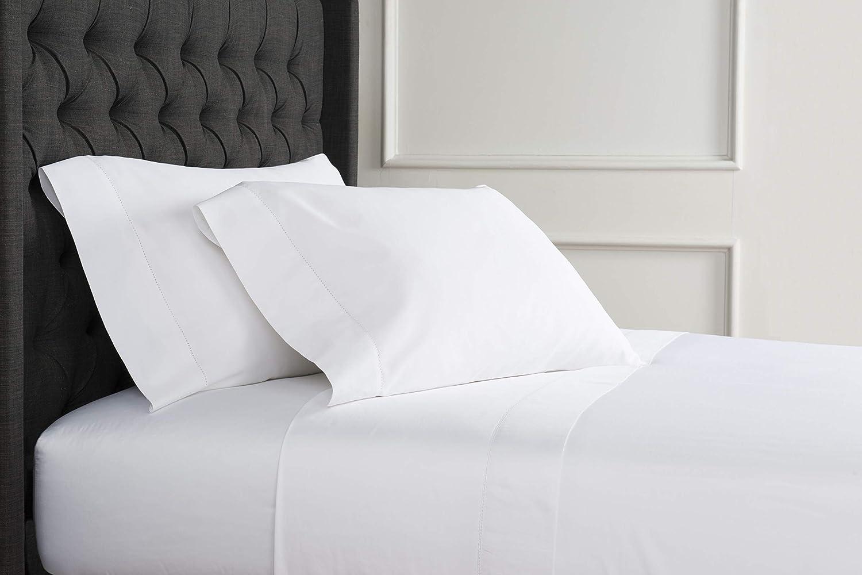 Melange Home America Grown Supima Cotton Hemstitch 400 Thread Court Sheet Set, Queen, White
