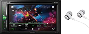 """Pioneer AVH-210EX Double DIN Bluetooth In-Dash DVD/CD AM/FM Front USB Digital Media Car Stereo Receiver 6.2"""" WVGA Touchscreen Display, Apple iPhone and Android Music Support/FREE ALPHASONIK EARBUDS"""
