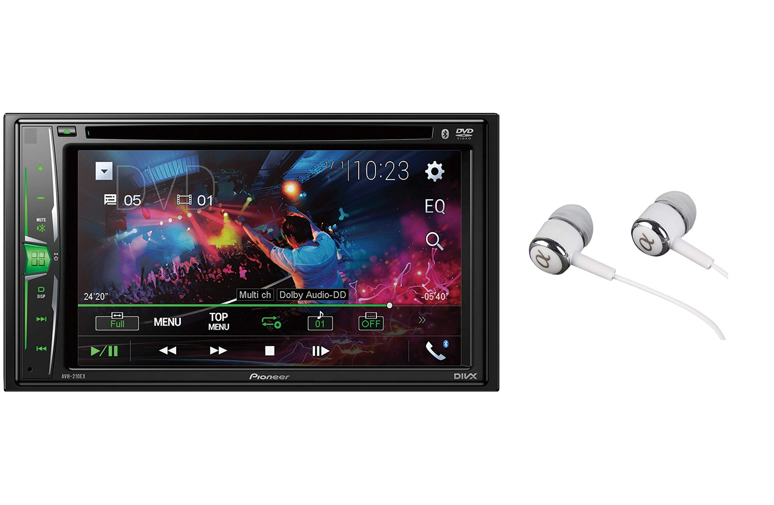 Pioneer AVH-210EX Double DIN Bluetooth In-Dash DVD/CD AM/FM Front USB Digital Media Car Stereo Receiver 6.2'' WVGA Touchscreen Display, Apple iPhone and Android Music Support by PIONEER