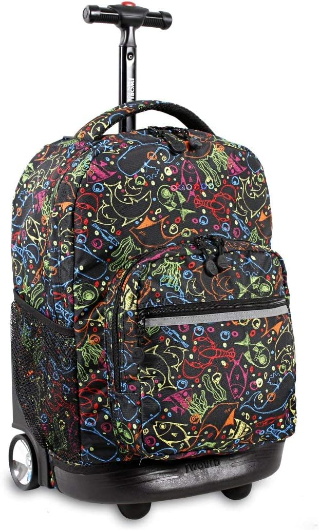 Duffel Kids Green Yellow Blue Red Fish Sealife Pattern Rolling Backpack