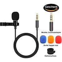 BIFY Lavalier-Mikrofon für Smartphone, 2 Adaptern,für iPhone, Android Smartphone