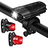 FYLINA Bike Light Kit Front and Back, Bicycle Headlight Rechargeable with Two Tail Light Powerful Lumens Bicycle Led Light Set Waterproof Fits with Mountain Bike, Road Bike for Safety