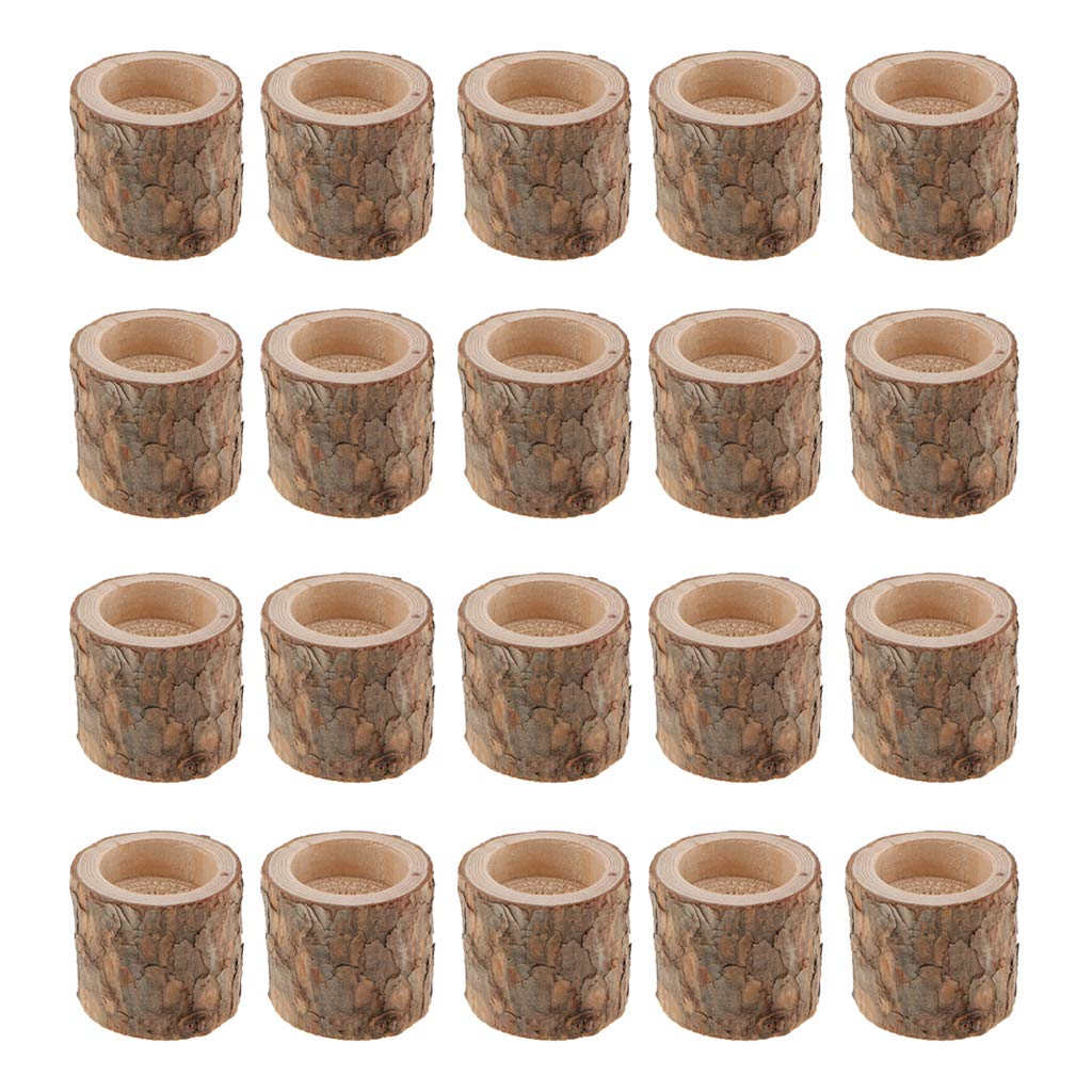 Fityle 20-Piece Wooden Tree Stump Tea Light Holder Candlestick for Home Wedding Decoration 5cm by Fityle