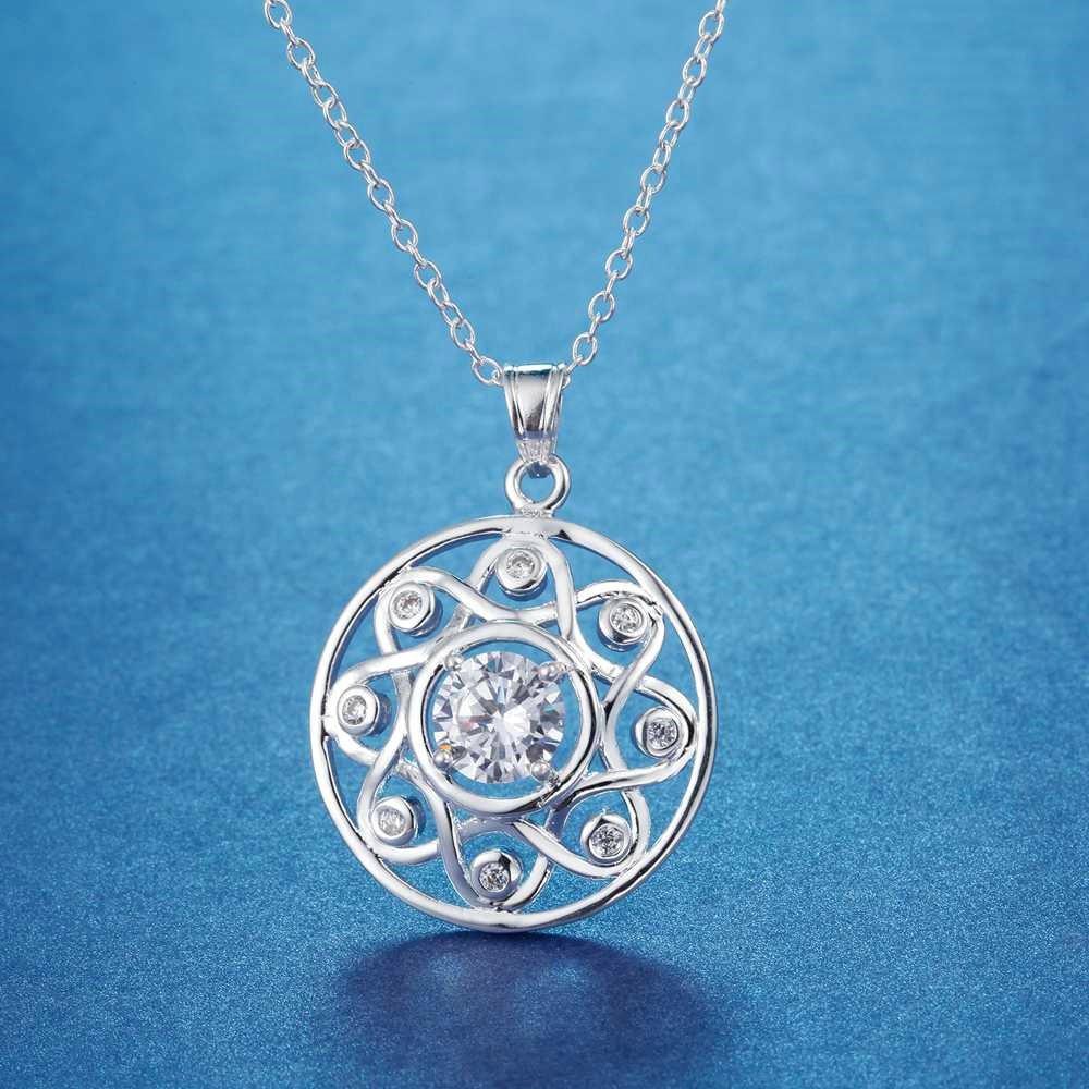 Onefeart Sterling Silver Pendant Necklace Women Girls Purple Crystal Flower Circle Pendant 45CMx25X25MM
