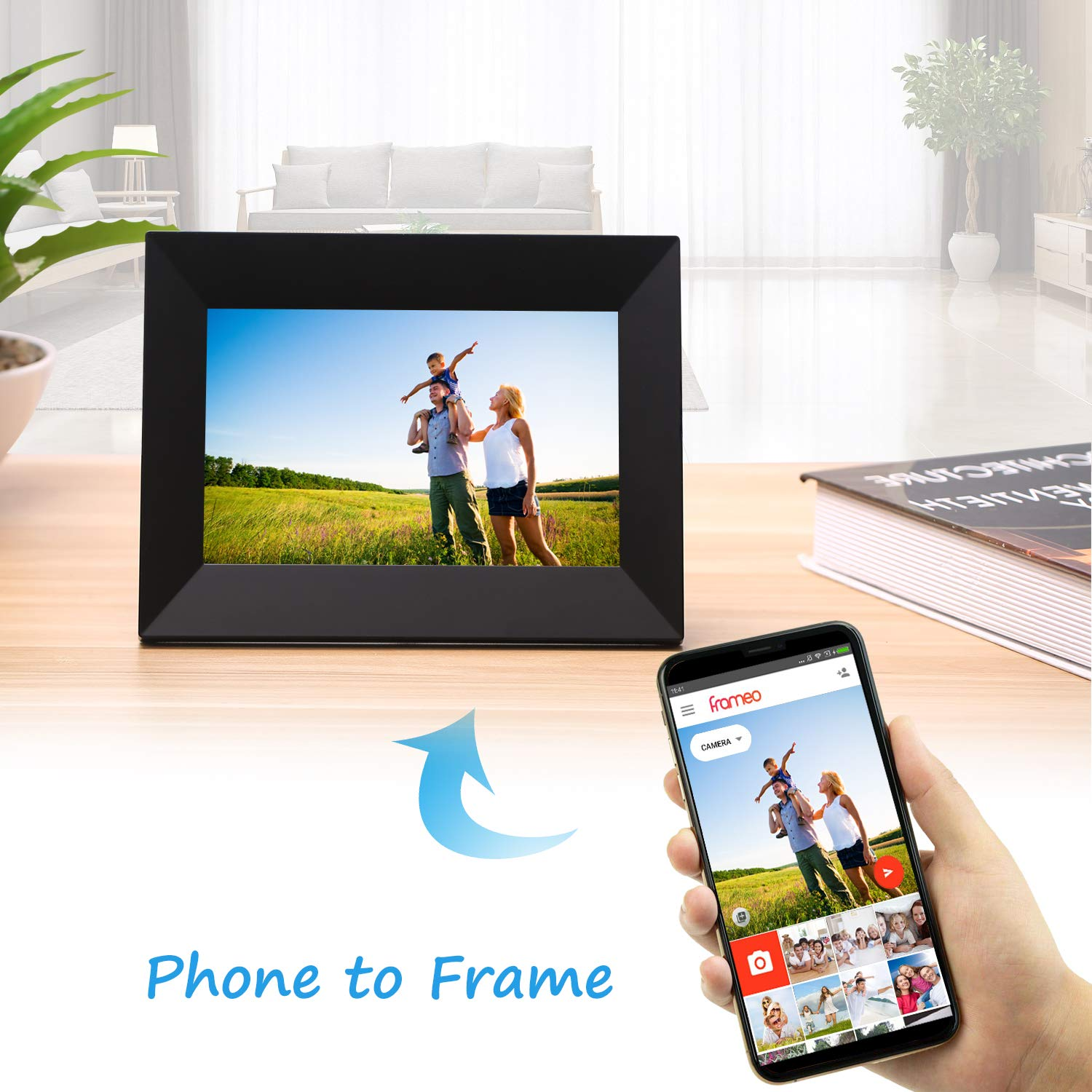 Dhwazz 8 Inch WiFi Digital Photo Frame, IPS Electronic Picture Frame with LCD Touch Screen, 8GB Internal Storage, Wall-Mountable, Display and Share Photos Instantly via Mobile APP by Dhwazz (Image #2)