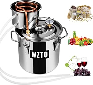 Frifer Moonshine Still 3 Gallon 2 Pot Copper Alcohol Distiller Home Brewing Kit Build-In Thermometer for DIY Whisky Wine Brandy, Stainless Steel