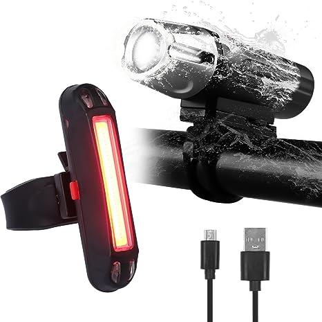 Luces Bicicleta Delantera y Trasera, Luz LED Bicicleta USB ...