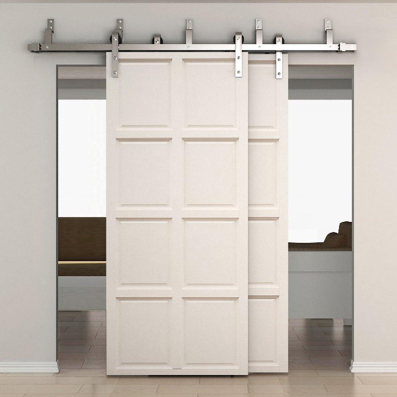 SMARTSTANDARD 6.6ft Bypass Double Door Sliding Barn Door Hardware (Stainless steel) (J Shape Hangers) (2 x6.6 foot Rails)