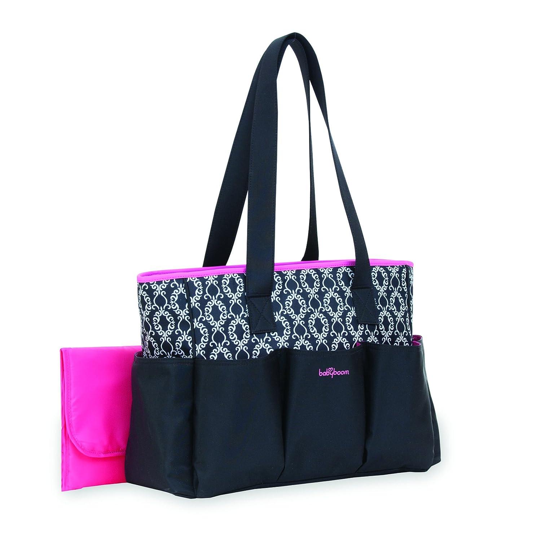 Babyboom 6-Pocket Tote Diaper Bag Black with Pink Trim, Black, BB11924