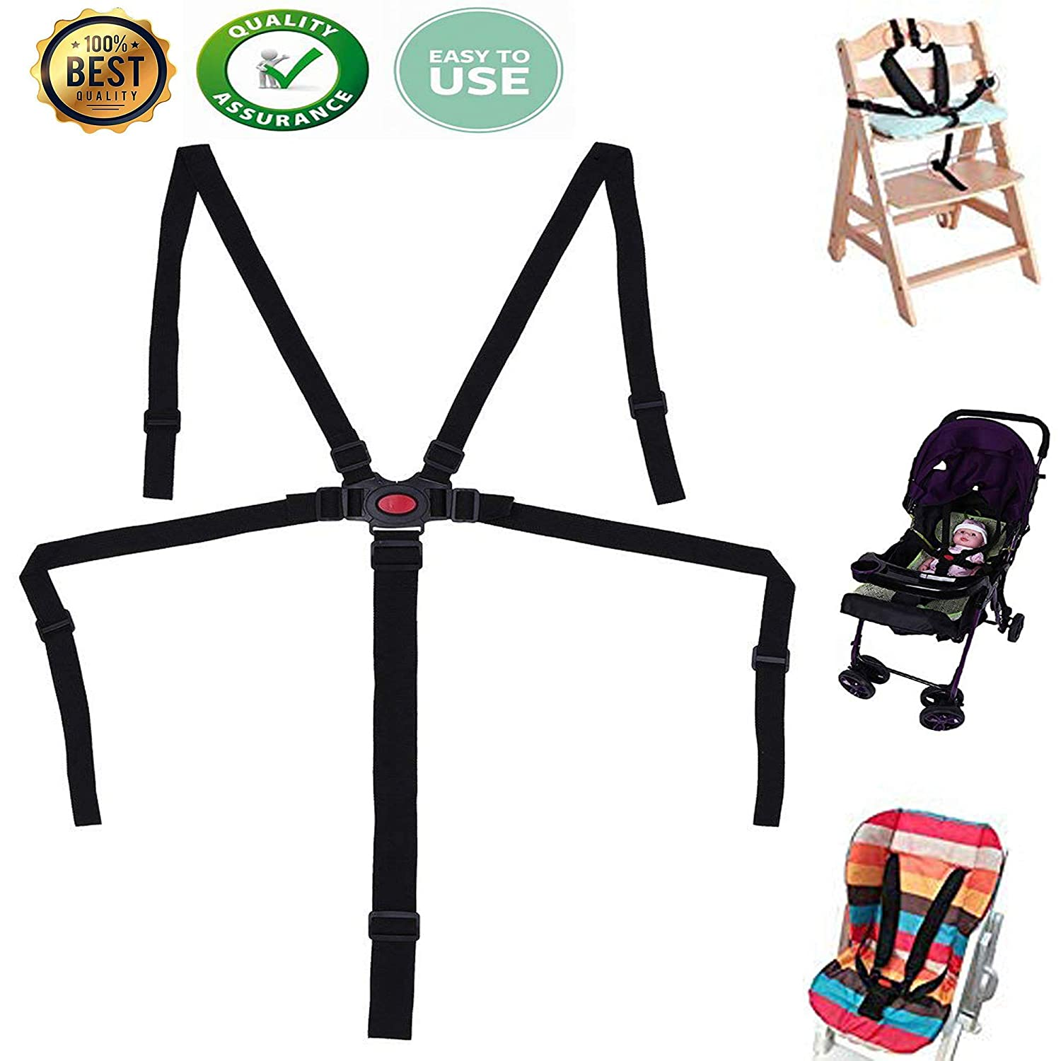High Chair Straps, Baby Kid 5 Point Harness, Harness for High Chair, High Chair Harness,Universal Baby Safe Belt Holder replacement for Stroller Wooden High Chair Pram Buggy Children Kid Pushchair Guang-T