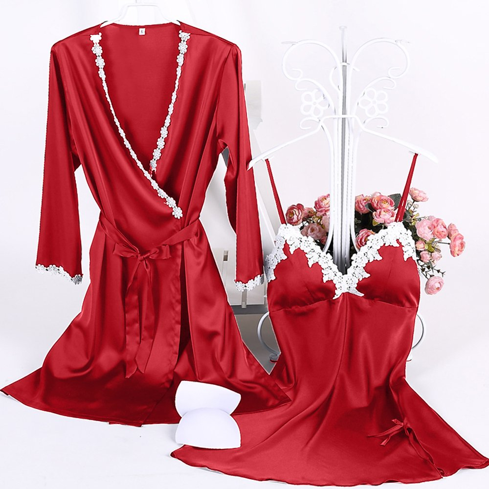f64650ff0aff Aibrou Womens Satin Sleepwear 2 Piece Set Lace Cami Nightgown and Robe (Red,  Small) at Amazon Women's Clothing store: