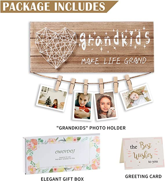 Mother Days Grandkids Make Life Grand Photo Holder Gifts for Grandma Grandpa from Granddaughter and Grandson with 10 Clips IMIKEYA Grandkids Photo Frame Birthday Gift Suit for Grandma Gift