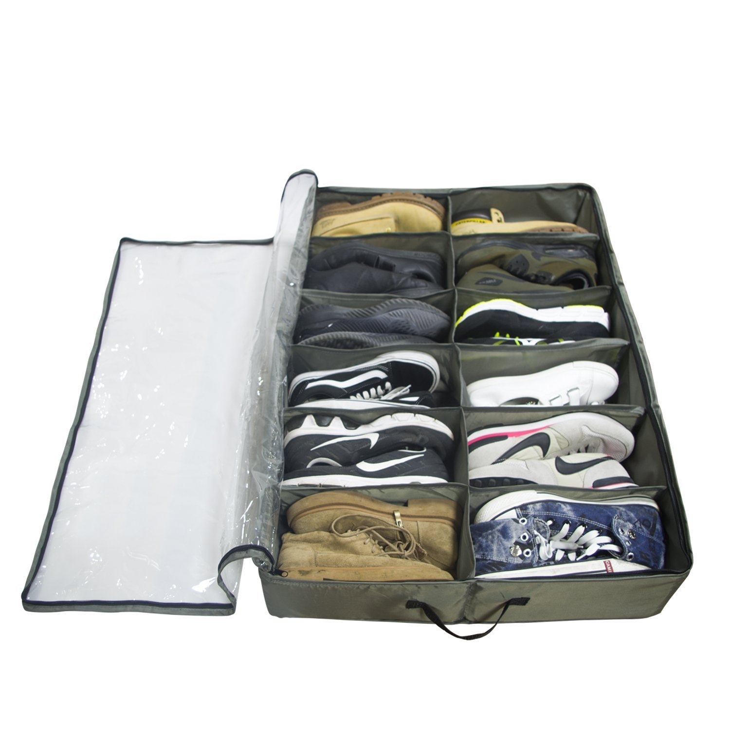 ACMETOP Built-in Structure Under Bed Shoe Storage, Space Saver Organizer, Sturdy & Breathable Materials, Solid Zippered, Dust-Free Design, Underbed Shoes Closet Storage Solution (8 Cell)