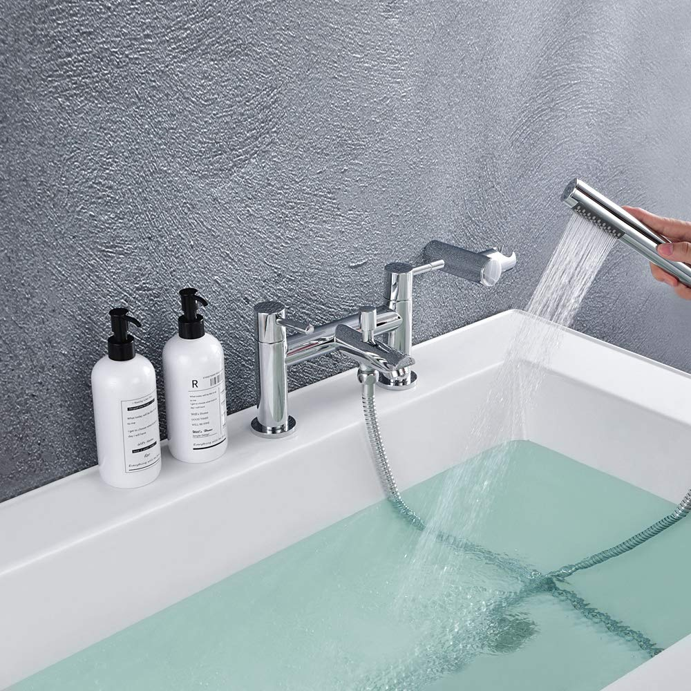 Pair of Hot and Cold Basin Sink Mixer Taps Chrome Bathroom Faucets