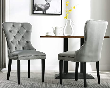 Amazon Com Chairus Velvet Dining Chairs Upholstered Elegant Tufted Chair With Nailed Trim Set Of 2 Gray With Little Cyan Chairs