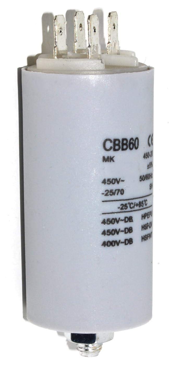 High Quality Motor Capacitor Value 5 Micro Farad (5uf) 400v, Standard 6.3mm Tab Terminals, Used On Many Tumble Dryer, Dishwasher And Fridge Freezer Motors