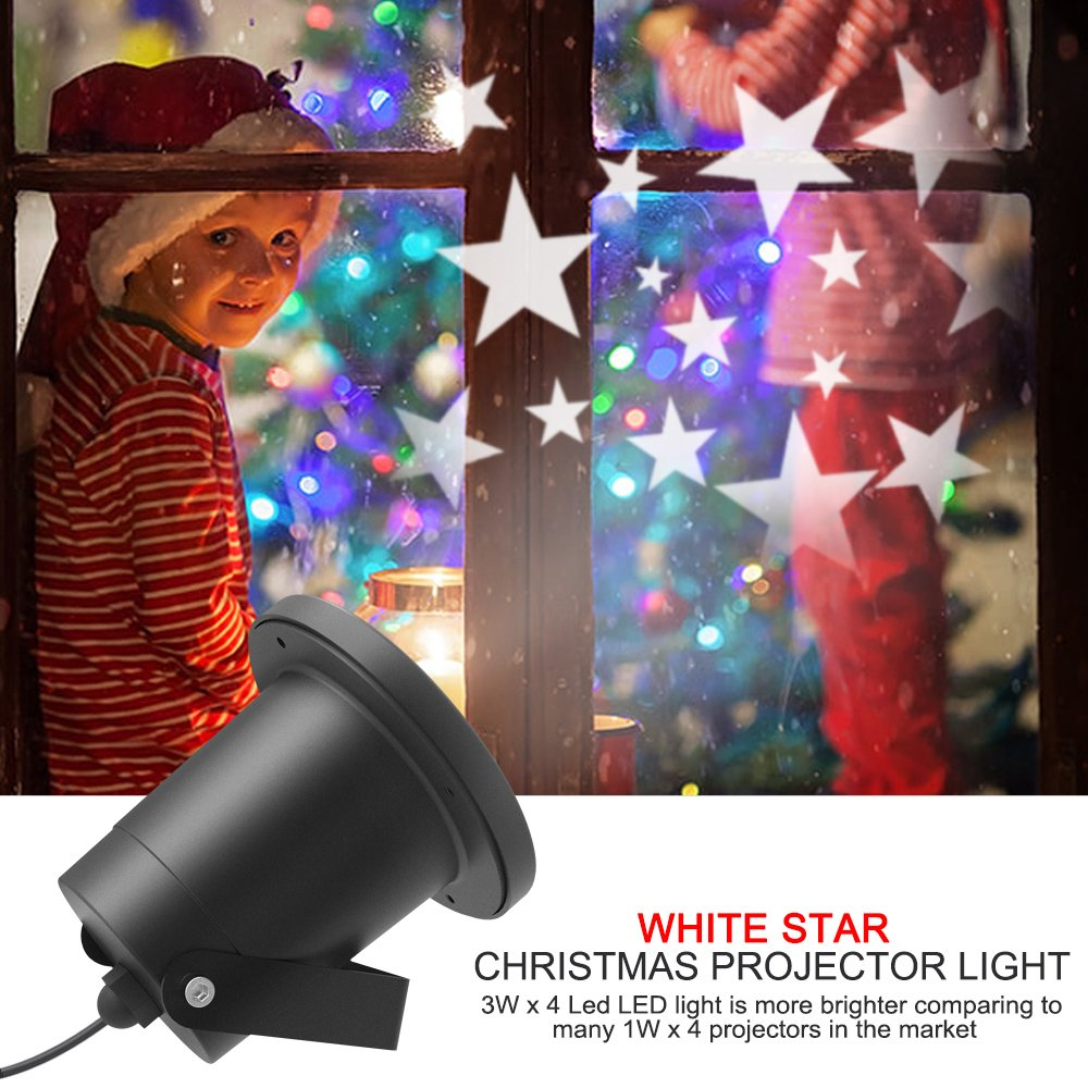 Night Star Show Projector Light II, Dreamix 3W x 4 Led Super Bright Updated Motor IP65 Waterproof Rotating Outdoor/Indoor Decoration for Christmas,Halloween,Party,Festival,Kids,Garden,Holiday,Birthday