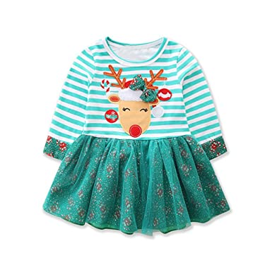 8786d41e4 Top and Top 1-6T Toddler Baby Girls Christmas Outfits Striped Santa Elk  Princess Tulle