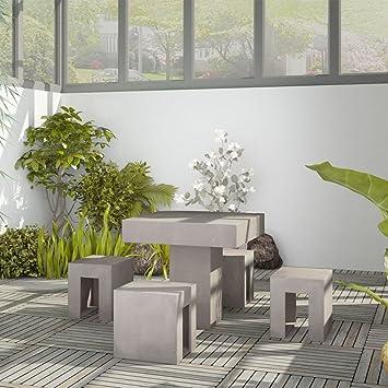 Amazon De Furnituredeals Set Esstisch Gartentisch 5 Stuck In Beton