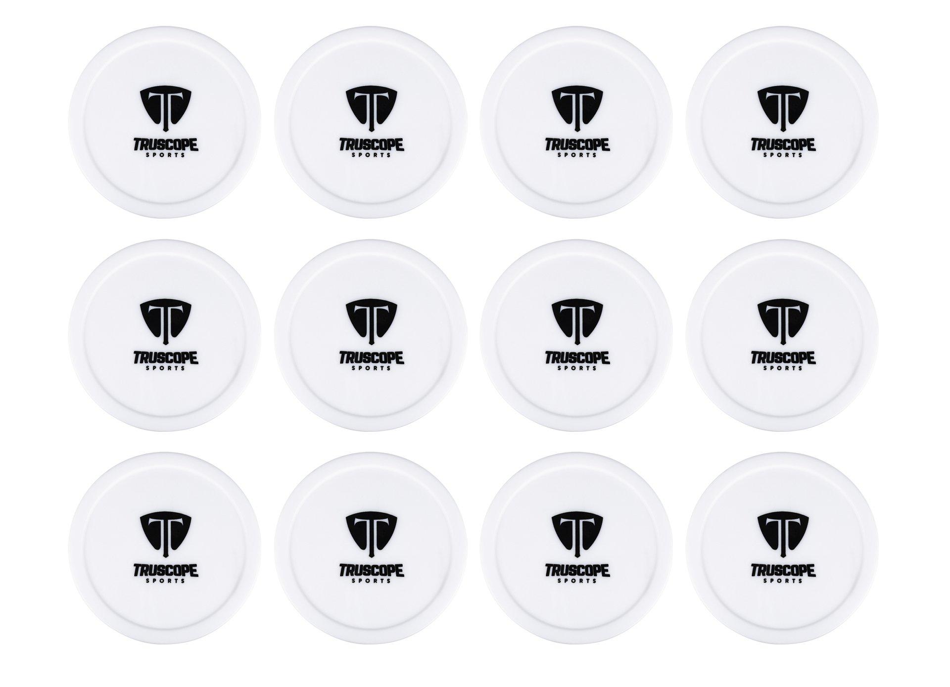 Truscope Sports 12 Pack 3 1/4 Inch Air Hockey Pucks (White)