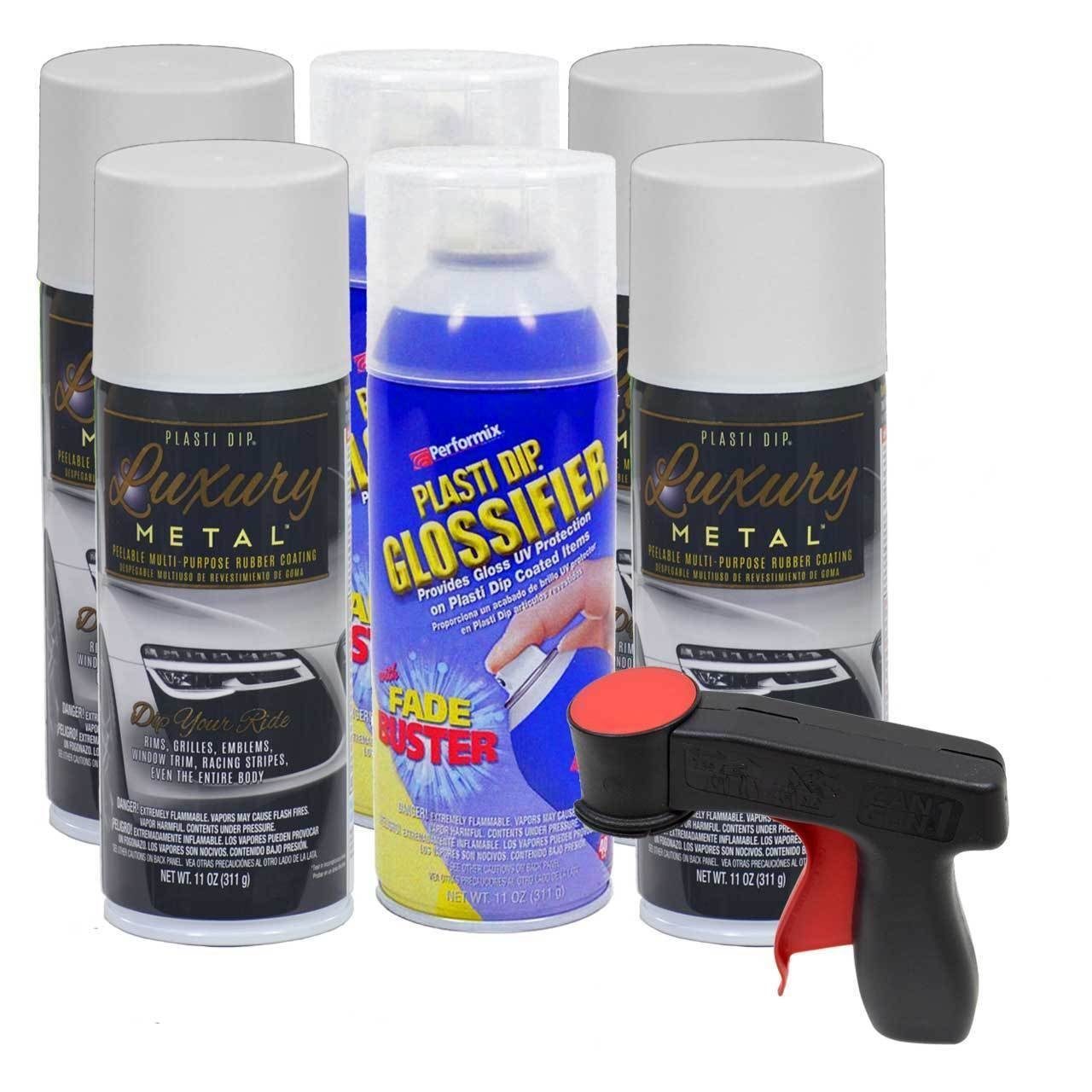 Plasti Dip Rim Kit: 4 Aerosol Cans Luxury Glacier White Metallic, 2 Aerosol Cans Glossifier, 1 Cangun ...