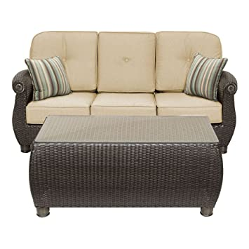 La Z Boy Outdoor Breckenridge Resin Wicker Patio Furniture Sofa With  Pillows And Coffee