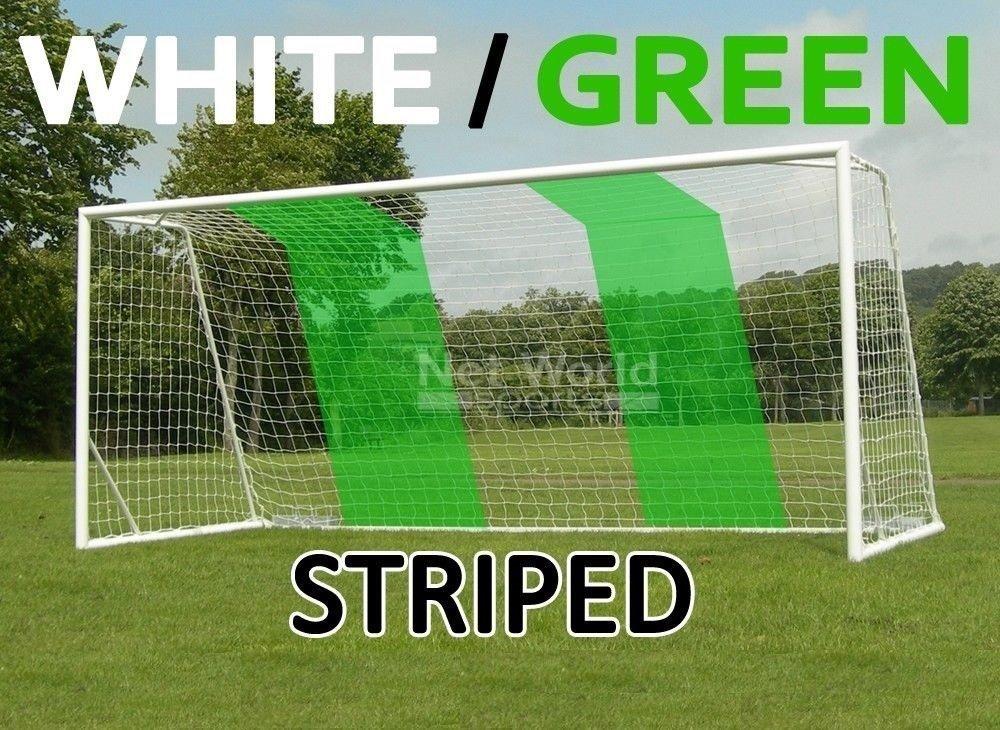 ストライプSoccer Goal Net – ホワイト/グリーン – 公式フルサイズFIFAスペック – 24 x 8 / 24 ' x 8 ' 2x White/Green Soccer Net (Pair)  B00NNURKDO