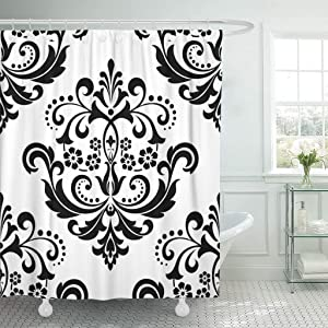 Abaysto Baroque Damask Floral Pattern Royal Flowers on Black and White Antique Gothic Bathroom Decor Shower Curtain Sets with Hooks Polyester Fabric Great Gift
