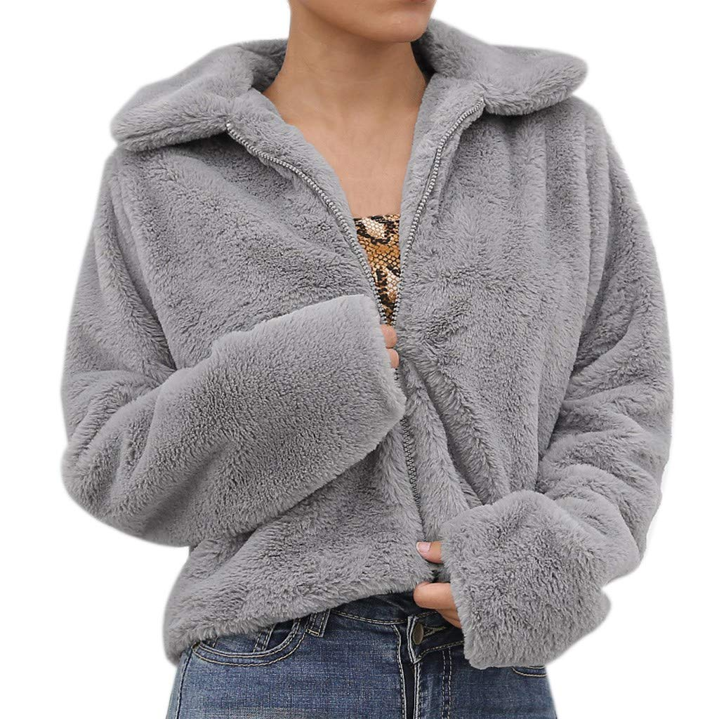 Womens Fashion Cashmere Sexy Warm Solid Color Zipper Long Sleeves Leisure Coat