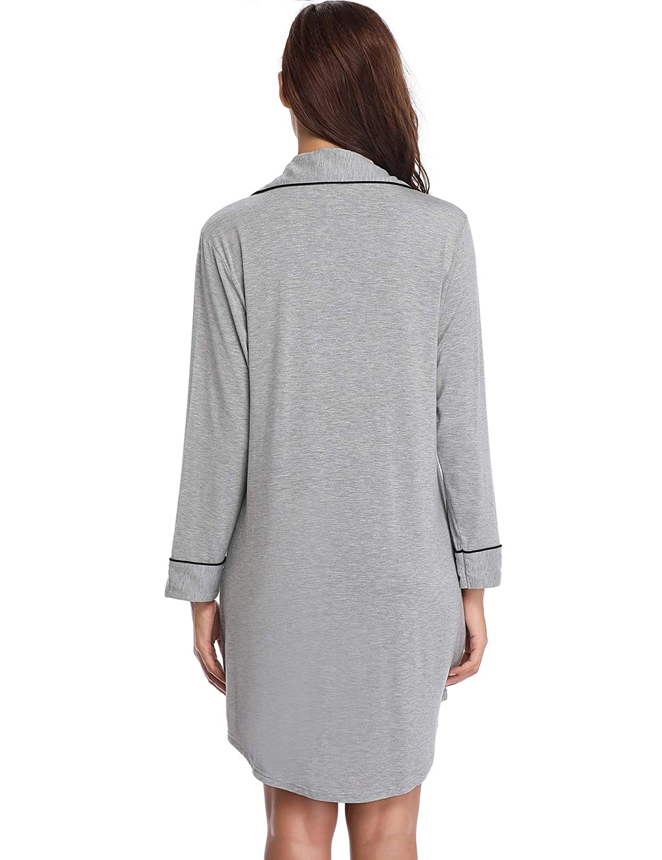 Lusofie Nightgown Womens Long Sleeve Nightshirt Boyfriend Sleep Shirt Button-up Lapel Collar Sleepwear