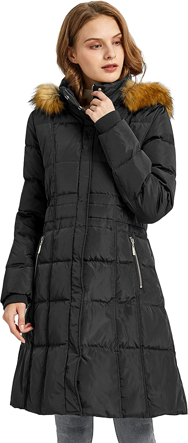 Orolay Quilted Down Jacket Women Winter Long Coat Puffer Jacket with Fur Hood: Clothing