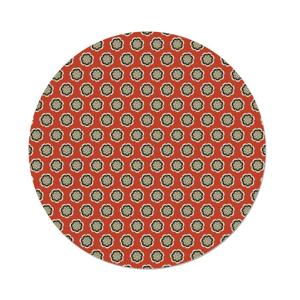 iPrint Polyester Round Tablecloth,Geometric,Floral Warm Color Palette Flowers Retro Dots Surreal Art Decorative,Vermilion Cream Sage Green,Dining Room Kitchen Picnic Table Cloth Cover Outdoor I
