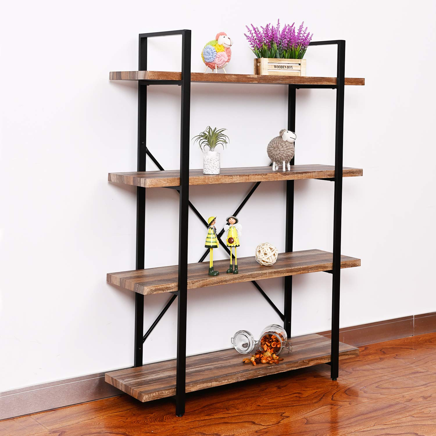Straightforward Adjustable 3/ 4 Shelf Bookcase Storage Bookshelf Wood Furniture Book Shelving 4 Color For Choose Home