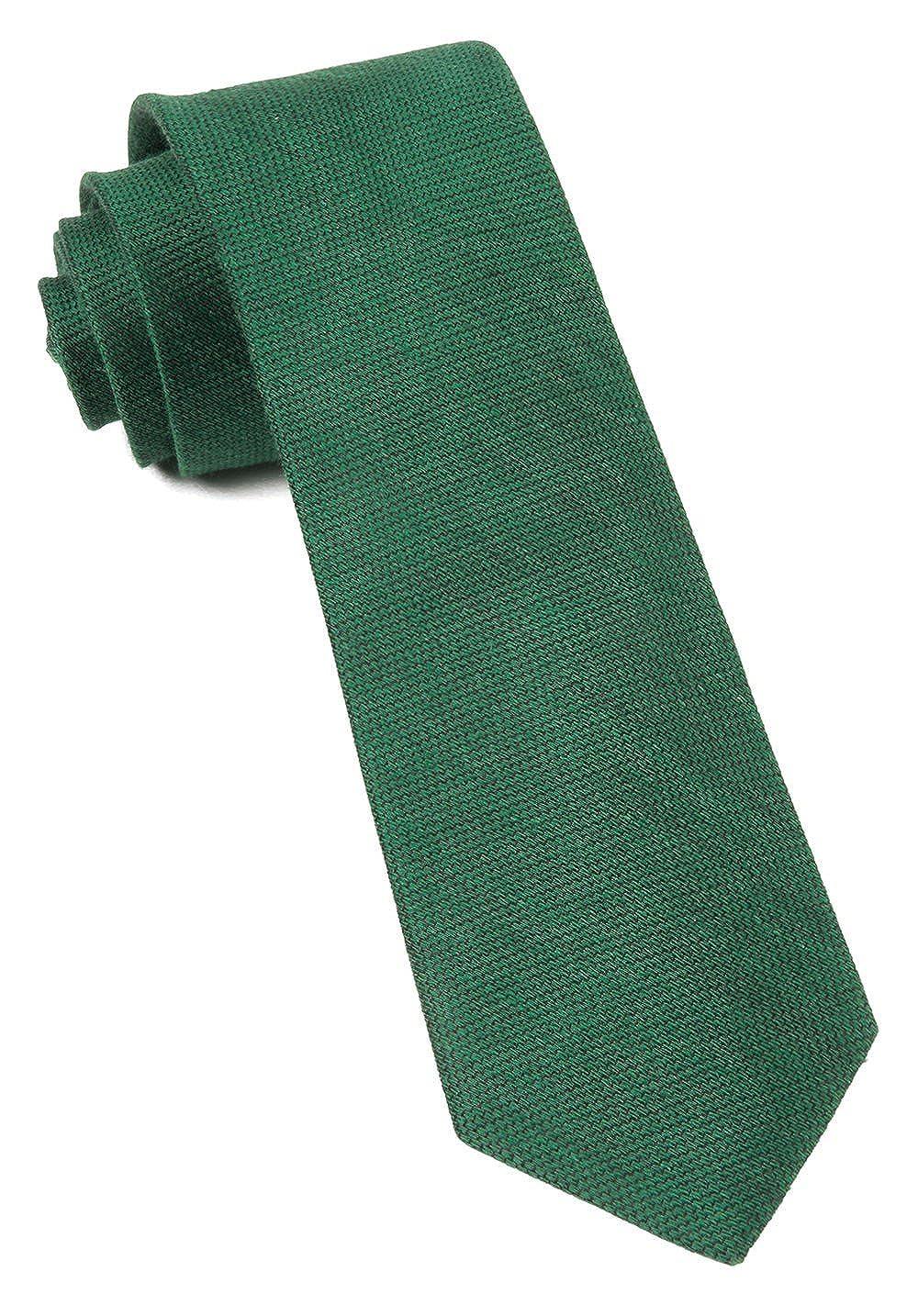The Tie Bar Linen Blend Jet Set Solid Emerald Green 2.5 Inch Tie