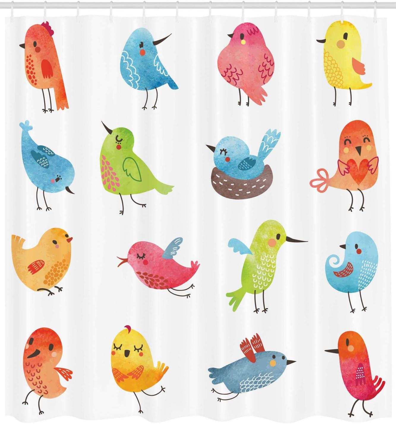 175 x 200 cm Tissu r/ésistant /à leau Multicolor Color/é Mignon Oiseaux Aquarelle Effet Humour Mascottes Dr/ôles Pinceau Art Design ABAKUHAUS Animal Rideau de Douche