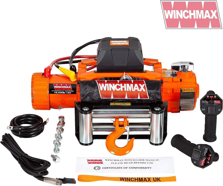 Winchmax Elektrische Seilwinde Mit 2 Geschwindigkeiten Stahlseil Drahtlose Doppelfernbedienung 5 443 Kg Orange Auto