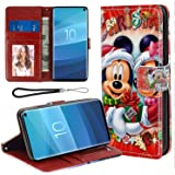 DISNEY COLLECTION Wallet Case with Kickstand Compatible for Samsung Galaxy S10+ (2019) 6.4-Inch Disney Christmas Merry Mickey Mause Xmas Good-Looking