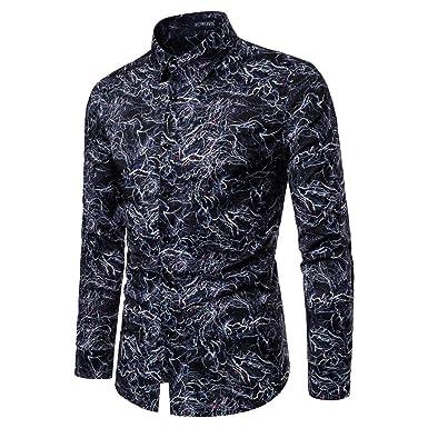 CLOOM Camisetas Hombre Manga Larga Camisa de Solapa de Slim Fit ...