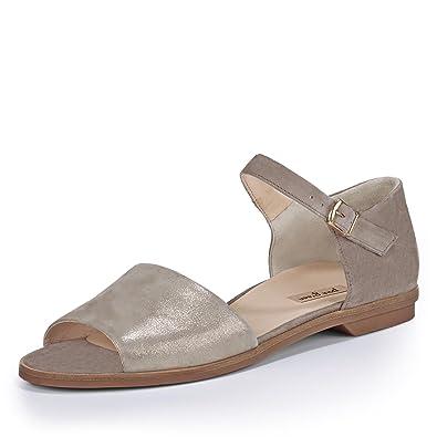Paul Green 6093-019 Damen Sandale aus Veloursleder Elegante und Filigrane Sohle
